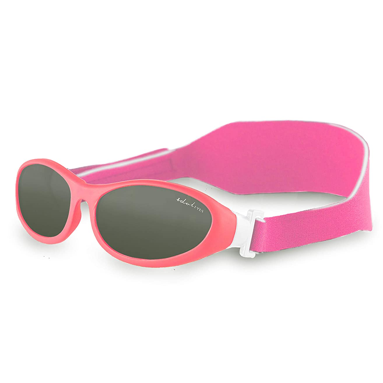 Baby Wrapz Baby Sunglasses – Toddler Sunglasses for Boys and Girls w/ 100% UV Protection - Soft Rubber Frame & Headstrap Plus Microfiber Travel Case Pink