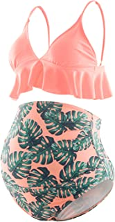 Bhome Maternity Two Pieces Bikini Set High Waisted Swimsuit Ruffle Summer Swimwear