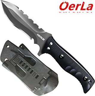 Oerla Tactical OL-0021SD Fixed Blade Knives Outdoor Duty Knife 420HC Stainless Steel Field Knife Survival Camping Knife Double Sided Blade with G10 Handle Waist Clip EDC Kydex Sheath (Black)