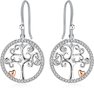 J.Rosée Drop Earrings, Tree of Life Earrings with 925 Sterlng Silver and 3A Cubic Zirconia or Pendant Necklaces, Chain Jewelry Necklace Gifts for Women Girls