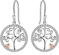 J.Rosée Tree of Life Necklace with 925 Sterling Silver and 3A Cubic Zirconia, 18''+ 2