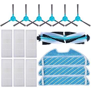 KEEPOW Kit Accesorios de Recambio para Cecotec Conga Excellence 1290/1390 Robot Aspiradora, Material Premium, Pack Familiar de 6 Cepillos Laterales+ 6 Filtros + 3 Mopas + 1 Cepillo Principal: Amazon.es: Hogar