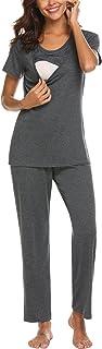 MAXMODA Women's Maternity Nursing Pajamas Cotton Sleepwear Set Soft Pregnancy Breastfeeding Hospital PJ Set S-XXL