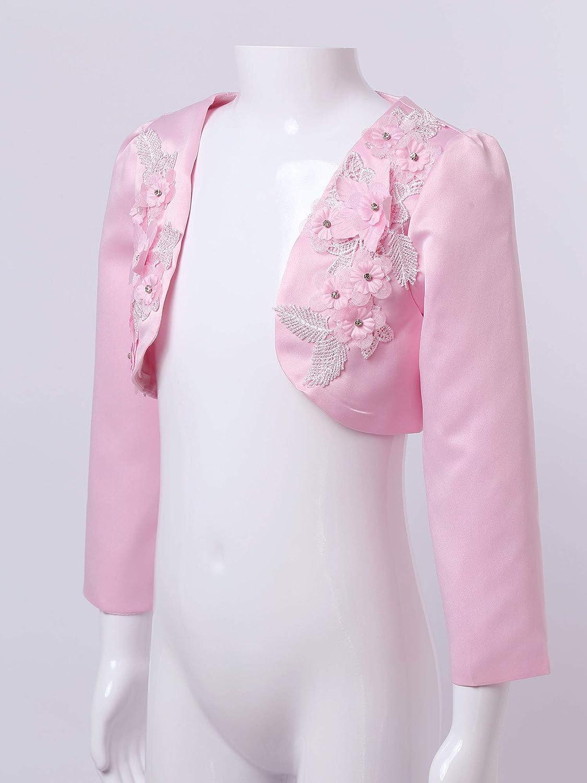 Agoky Kinder M/ädchen Strickjacke Basic Bolero Langarm Schulterjacke Top Blazer Passt zu Festliche Kleider Taufkleid Kommunion Blumenm/ädchen Kleid