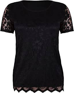 b5fe7ee8ce6e Top Fashion Ladies Plus Size Short Sleeve Stretch Lined Floral Lazer Cut  Lace Blouse T-