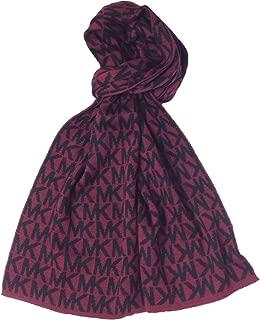 Michael Kors MK Repeat Logo Knit Scarf, Wine/Black