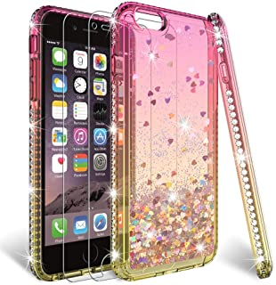 HATOSHI iPhone 6/6s Case (Not Fit 6+/6s+) with Screen Protector Tempered Glass [2 Pack] for Girls Women, Liquid Glitter Quicksand Sparkle Bling Clear Cute Phone Cover for iPhone 6/6s (Pink/Gold)