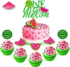 Watermelon Cupcake Topper One in A Melon Cake Topper Melon Themed Baby Girl 1st Birthday Party Supplies Summer Tropical Fruit Picks Decorations Set of 49