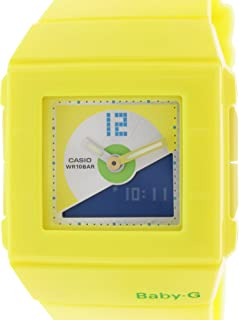 Casio Baby-G BGA-201-9E Yellow Square 100m Digital Analog Women's Sports Watch