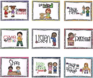 BIGPANDA 9 Pack A4 Paper Size Class Rule Poster Classroom Rules Behavior Etiquette Education Poster Good Habits Courtesy Chart for Preschool and Elementary School Supplies