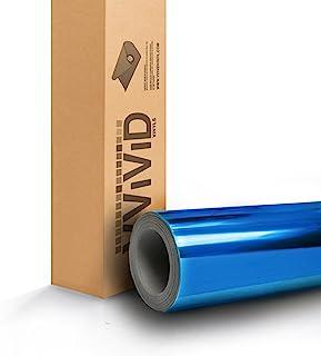 VViViD Gloss Chrome Blue Vinyl Wrap Adhesive Film 6 Inches x 60 Inches Roll Air Release DIY Decal Sheet