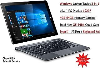 ChuwiUSA HI10 Air Tablet,10.1 inch Intel Cherry Trail X5 Tablet PC,4GB+64GB Windows 10 OS, WiFi, BT4.0, 2K Resolution Screen with Detachable Keyboard Docking …