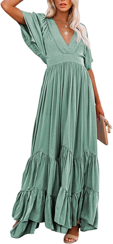 AOHITE Women's Dresses Ruffle Summer Casual Short Sleeve V Neck Flowing Beach Long Maxi Dress with Pockets