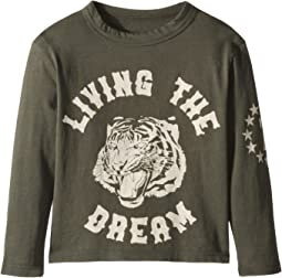 Super Soft Living The Dream with Tiger Face Long Sleeve Tee (Toddler/Little Kids)