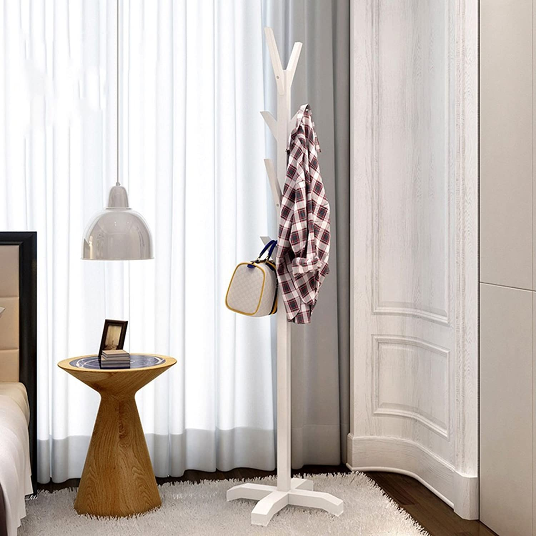 Floor Solid Wood Hangers Bedroom Clothes Shelf Simple Modern Hanging Frame Simple Hanger Creative (color   White)