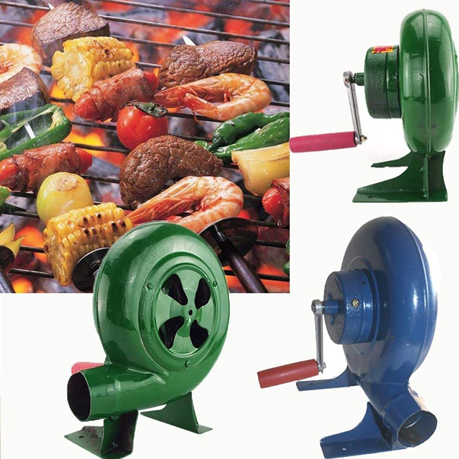 Barbecue Blower Manual Forging Blower Barbecue Fan Manual Bellows Lighter Fan (Green, 150w)