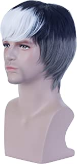 Angelaicos Mens Gray Black White Wig Halloween Costume Cosplay Party Hair Full Wigs