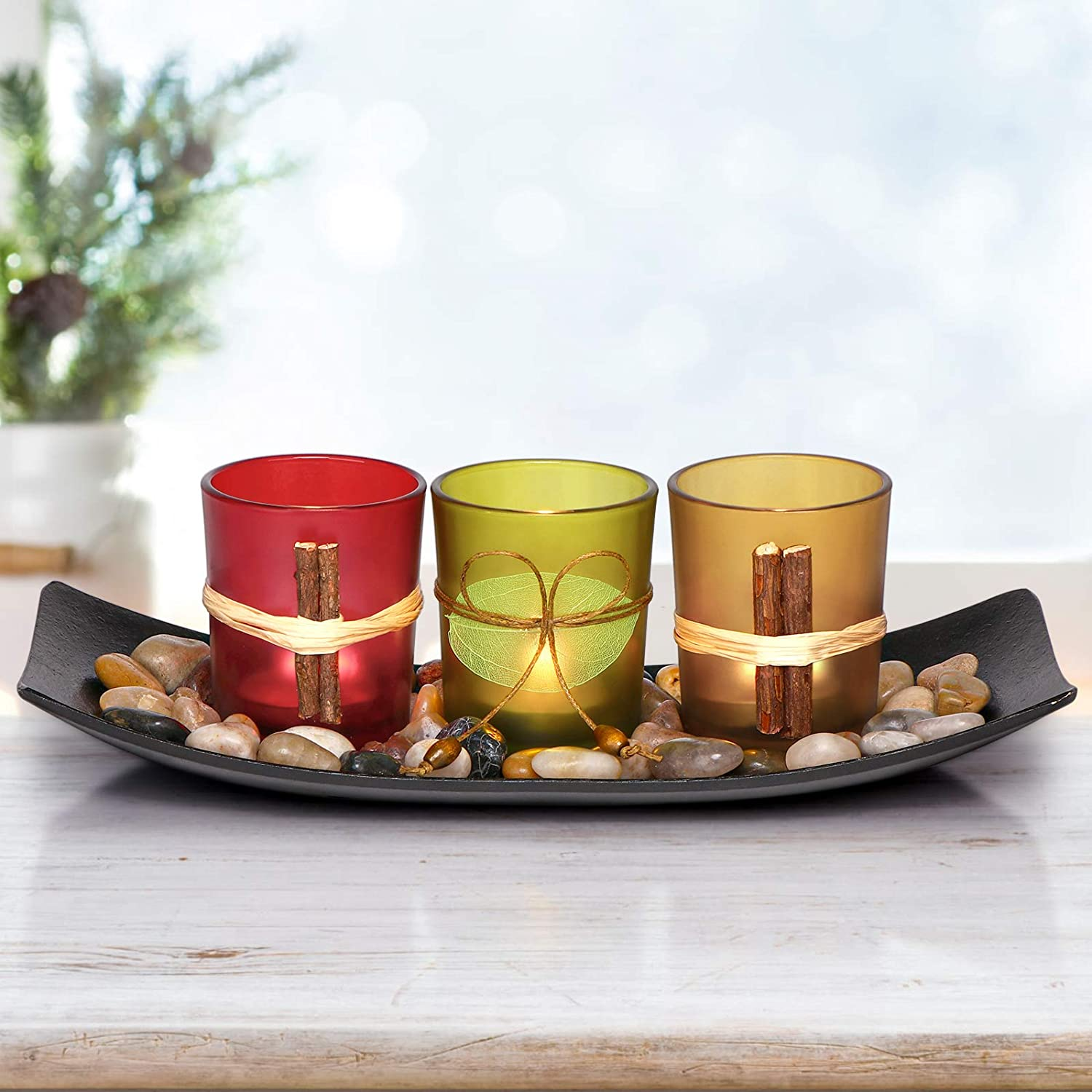 LETINE Cute Candle Holders Set Fit in LED Lights. Centerpieces for Coffee  Table, Bathroom Decor. Decorations for Farmhouse & Modern Style Bed Room.  ...