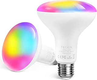 Smart Light Bulb,13W E27 RGB Color Changing LED WiFi Light Bulb Equivalent 100W,1300LM BR30 Compatible with Alexa and Google Home 2900K-6000K,No Hub Required,TECKIN 2 Pcs(Not Support 5G WiFi)