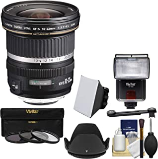 Canon EF-S 10-22mm f/3.5-4.5 USM Ultra Wide Angle Zoom Lens with 3 Filters + Hood + Flash & Video Light + Diffuser + Soft Box + Kit for EOS 70D, 7D, Rebel T5, T5i, T6i, T6s, SL1 Camera