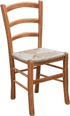 Juego de 2 sillas Country con estructura de madera de haya natural y asiento de paja