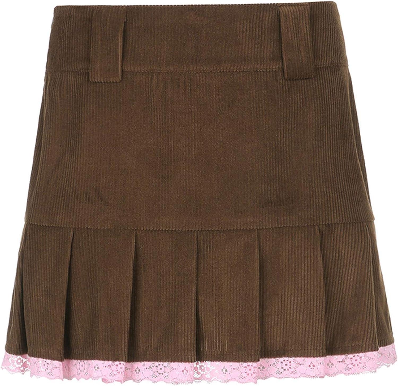 iiniim E-Girl Sweet High Waist Short Skirt Corduroy Solid Casual Mini Pleated Skirt for Women Girls