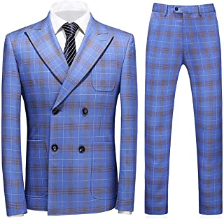 Mens Plaid 3 Piece Suits Slim Fit Double Breasted Plaid Suit Jacket Vest Trousers Formal Business Wedding