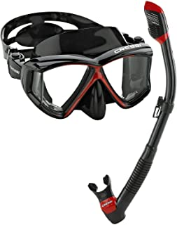 Cressi Panoramic Wide View Mask & Dry Snorkel Kit for Snorkeling, Scuba Diving | Pano 4 & Supernova Dry: Designed in Italy