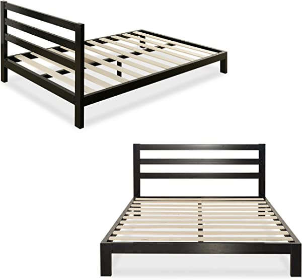 Zinus Arnav Modern Studio 10 Inch Platform 2000H Metal Bed Frame Mattress Foundation Wooden Slat Support With Headboard Good Design Award Winner Queen