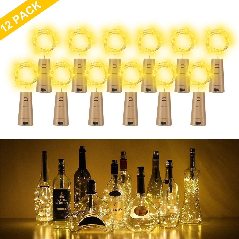 Botella de luz, ALED LIGHT 12 Pack Botellas de Vino Luces 20 LED Luz de Bricolaje Corcho Micro Luces LED para Botella de Vino para Boda, Fiesta, Decoración de Botella,Decoración de Luces: