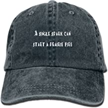 MXXJY Single Spark Can Start A Prairie Fire Adjustable Washed Cap Cowboy Baseball Hat Navy