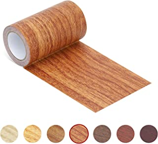 """Repair Tape Patch 2.4"""" X15' Wood Textured Adhesive for Door Floor Table and Chair(Red Oak)"""