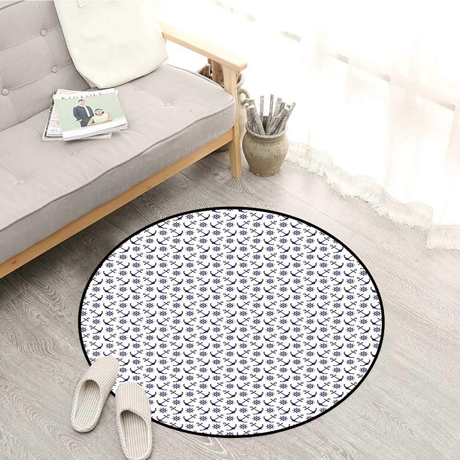 Navy bluee Non-Slip Rugs Anchors with Ships Steering Wheels Nautical Composition Sea Life Element Sofa Coffee Table Mat 4'3  Dark bluee White