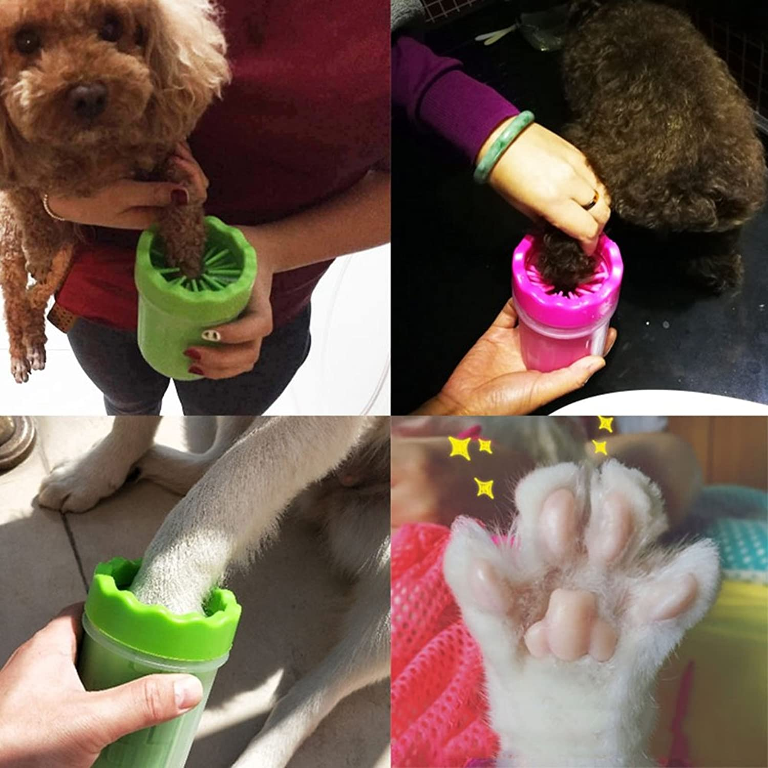 BERTERI Dog Cat Soft Silicone Footbath Massage Cup Brush Pet Claw Care Cleaner Pet Cleaning Tools Grooming Roller Brush for Comercial Household Green Large (Pack of 1)
