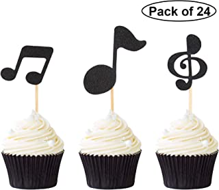 Pack of 24 Music Notes Cupcake Toppers Black Glitter Music Themed Party Cupcake Picks Decoration Supplies