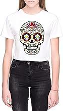 Suiker Schedel Dames Crop T-Shirt Wit Women's Crop...