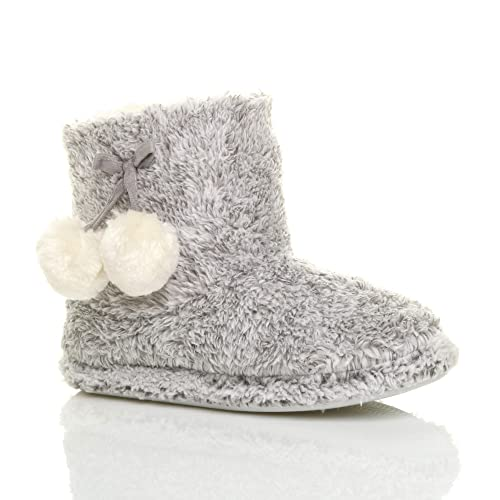 b5fde3271 Ajvani Womens Ladies Winter pom pom Fur Lined Comfort Knitted Ankle Slipper  Boots Booties Size