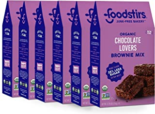Foodstirs Junk-Free Bakery Organic Chocolate Lovers Brownie Baking Mix, 12.55 Oz | Non-GMO | Low Sugar (Pack of 6)