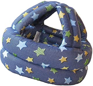 Grandmart ベビースポンジヘルメット 軽量 女の子 男の子 頭部の保護に安心 乳幼児用 星 デニム風ネイビー