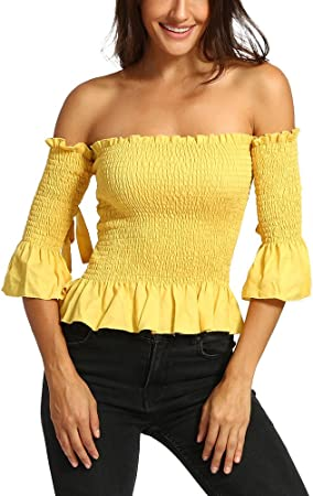 Camisas Blusas para Mujer SUNNSEAN Color Sólido Elástico ...