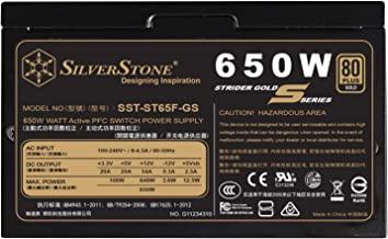SilverStone Technology 650W Computer Power Supply PSU Fully Modular with 80 Plus Gold & 140mm Design Power Supply (SST-ST6...