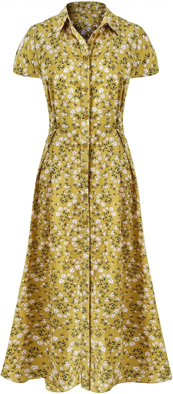 Bon Rosy Women's Short Sleeve Front Slit Floral Maxi Beach Dress