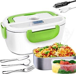 Nifogo Boîte à Lunch électrique Portable en Acier Inoxydable 2 en 1, Cuillère, Fourchette et Couteau Inclus pour Voiture/C...