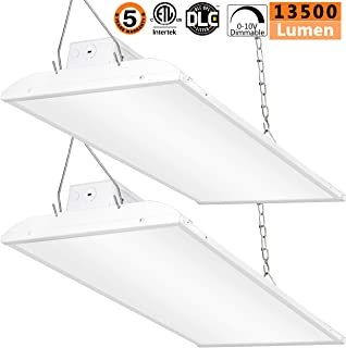 LED High Bay Light 2FT,90W 0-10V Dimmable [250W-350 Equivalent] 13500lm 5000K Daylight IP44 Industrial Grade Warehouse Hanging Light Workshop Lamp cETLus Listed-90W-2Pack-L