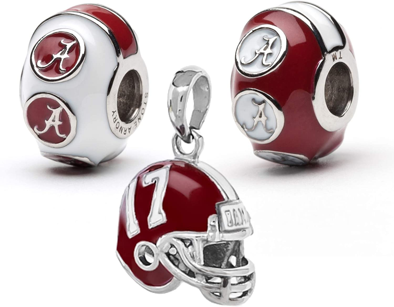 University of Alabama Bead Charm Set | Stainless Steel Alabama Charms | Set of Three Crimson Tide Charms | Alabama Helmet Charm Set | University of Alabama Gift | Fits Most Popular Charm Bracelets