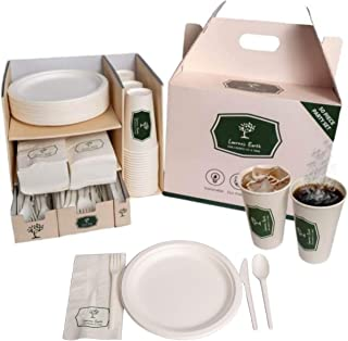 Lauren's Earth 295 pc Party Supplies with Biodegradable Plates, Biodegradable Cups, Compostable Cutlery, and Compostable P...