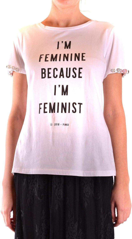 Pinko Women's MCBI36408 White Cotton TShirt
