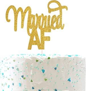 Married AF Cake Topper,Mr and Mrs Sign, Bridal Shower Funny Wedding Party Decorations (Double Sided Gold Glitter)