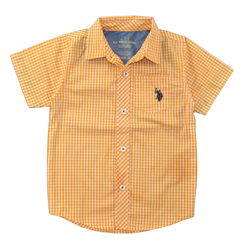 米国ポロ協会。Boys '半袖オレンジチェック印刷スポーツシャツ