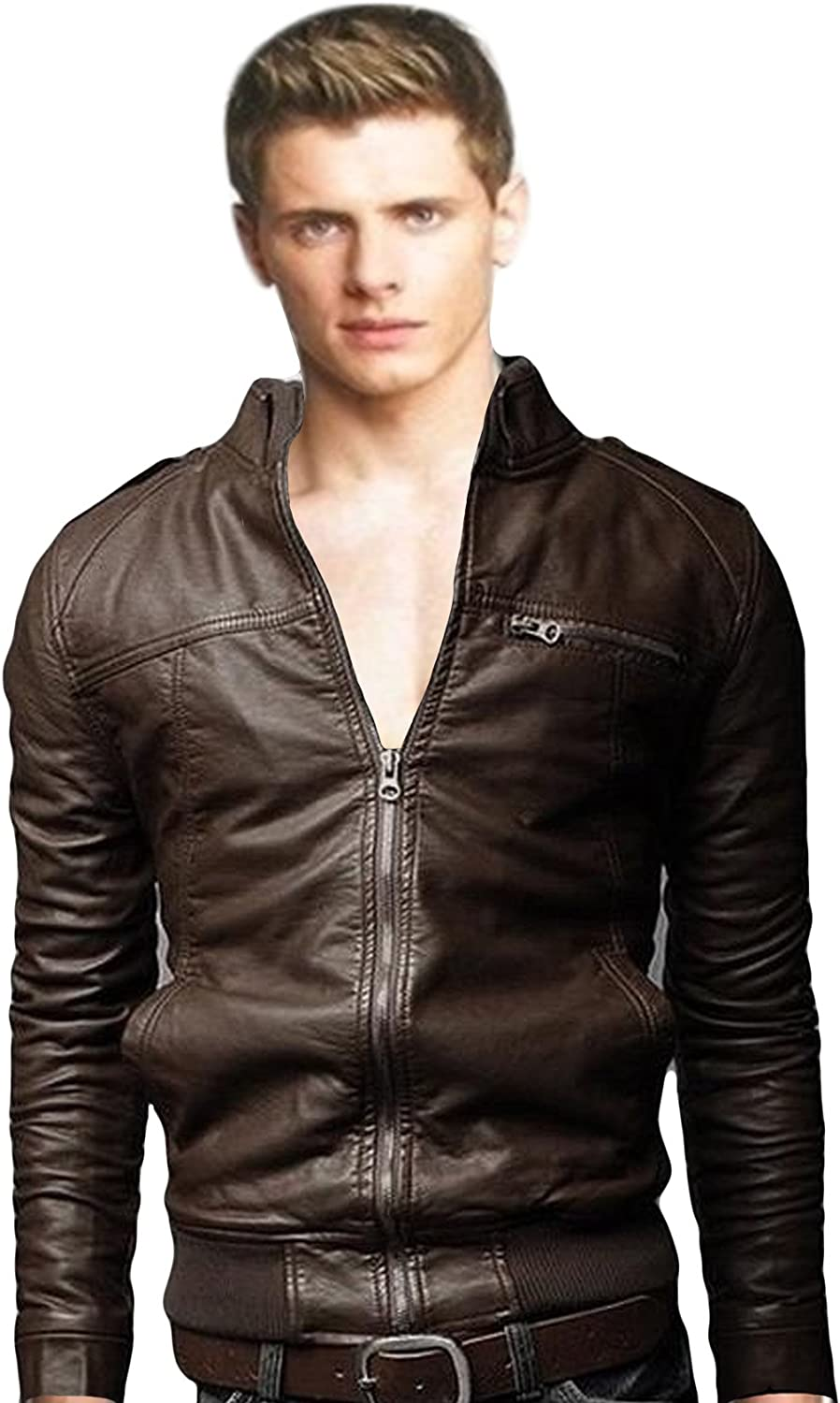Bestgift Genuine Men's Solid Color Stand Faux Collar Jacke Short Leather Washington Mall